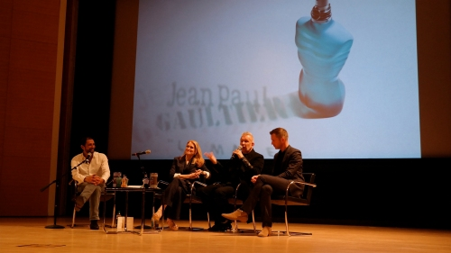 From L to R: Francis Kurkdjian, perfumer and creator of Le Male, Jane Larkworthy, moderator and Beauty Director of W Magazine, Jean Paul Gaultier, and Thierry-Maxime Loriot, curator of the Jean Paul Gaultier exhibit at the Brooklyn Museum