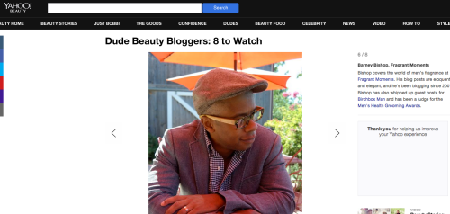 Fragrant Moments blogger, Barney Bishop featured on Yahoo Beauty